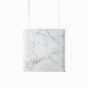 Werner Sr. Calacatta Marble Ceiling Lamp with Satin Gold Fixture by Andrea Barra for [1+2=8], 2017