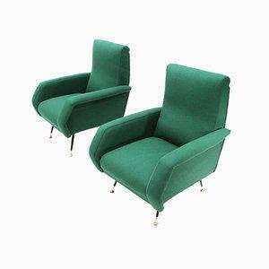 Grüne italienische Mid-Century Sessel von Gigi Radice für Minotti, 1950er, 2er Set