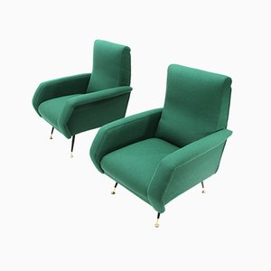 Mid-Century Italian Green Armchairs by Gigi Radice for Minotti, 1950s, Set of 2