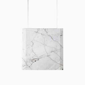 Werner Sr. Calacatta Marble Ceiling Lamp with White Fixture by Andrea Barra for [1+2=8], 2017