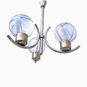 Hellblaue Deckenlampe aus Muranoglas von Toni Zuccheri, 1970er