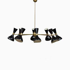 Lámpara de araña italiana Mid-Century con pantallas diábolo negras