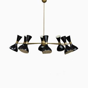 Mid-Century Italian Chandelier with Black Diabolo Shades