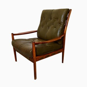 Model Läckö Leather and Mahogany Easy Chair by Ingemar Thillmark for OPE, 1960s