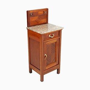 Antiker Jugendstil Nachttisch aus Mahagoni und Marmor