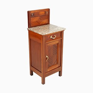 Antique Art Nouveau Mahogany and Marble Nightstand