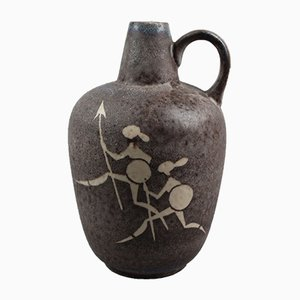 Vase mit afrikanischem Jäger-Motiv von Kurt Tschörner für Ruscha, 1950er