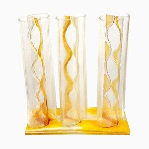 Triple Vases Soliflores Vintage en Verre de Mazzega