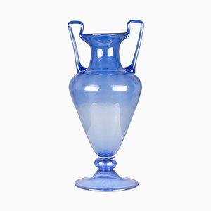 Jarrón italiano vintage grande de cristal de Murano azul