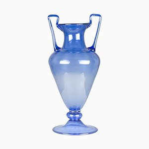 Vaso vintage in vetro di Murano blu, Italia