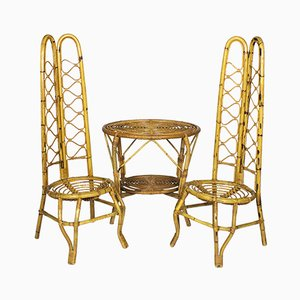 Italian Pair of Rattan Chairs with Table, 1960s