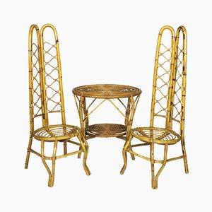 Paire de Chaises en Rotin avec Table, Italie, 1960s