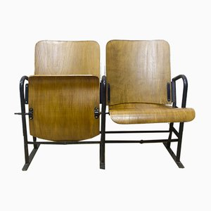 French Wooden Cinema Seats, 1940s