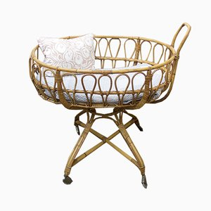 Mid-Century Wicker Cradle, 1950s
