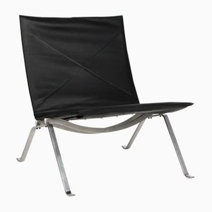 Vintage PK-22 Black Leather Chair by Poul Kjærholm for Fritz Hansen, 2007