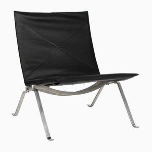 Vintage PK-22 Stuhl aus schwarzem Leder von Poul Kjærholm für Fritz Hansen, 2007