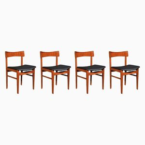 Mid-Century Stühle aus Teak und Kunstleder, 1960er, 4er Set