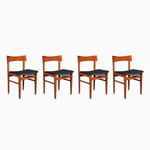Mid-Century Teak and Leatherette Chairs, 1960s, Set of 4