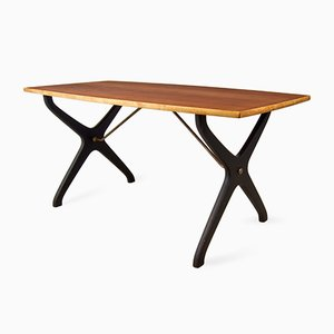 Table Basse Mid-Century en Teck avec Pieds Noirs par Karl-Erik Ekselius pour JOC Vetlanda, 1960s