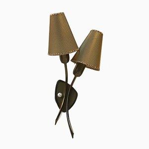 Doppelte dänische Mid-Century Wandlampe aus Messing, 1950er