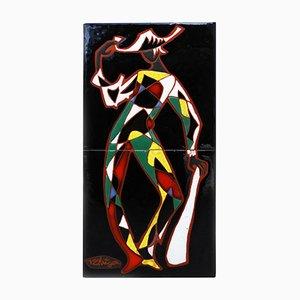 Cerámica artística de pared de Harlequín francesa Mid-Century de Paul Corriger, años 50