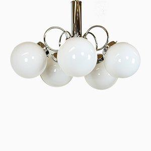 Lampada da soffitto vintage in vetro opalino con cinque luci