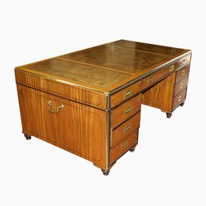 Brass Inlaid Satinwood Partners Desk, 1960s