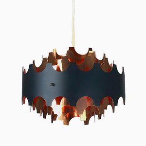 Lámpara de techo escandinavo de cobre de Coronell Elektro, años 60