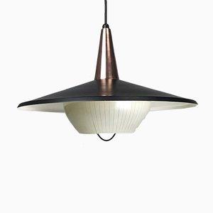Lampe à Suspension Mid-Century en Cuivre & en Verre par Bent Karlby pour Lyfa, Danemark, 1950s