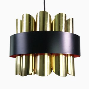 Danish Brass Ceiling Lamp from Coronell Elektro, 1960s