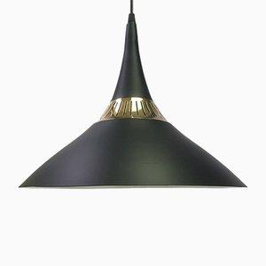 Lampada da soffitto in ottone di Bent Karlby per Lyfa, Danimarca, anni '50
