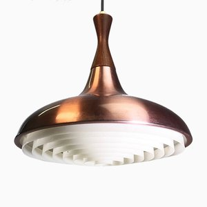 Vintage Danish Copper Ceiling Light with Teak Diabolo Shaped Top from Lyskaer