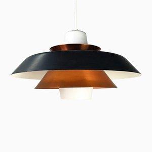 Dänische Deckenlampe aus Kupfer & Opalglas von Voss Belysning, 1950er