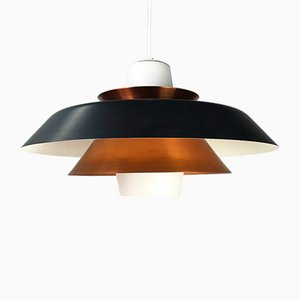 Danish Copper & Opaline Glass Ceiling Lamp from Voss Belysning, 1950s
