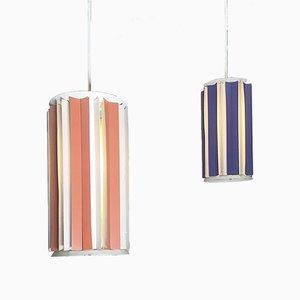 Dänische pfirsich- und lilafarbene Deckenlampen, 1960er, 2er Set