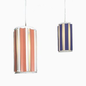 Danish Peach & Purple Ceiling Lights, 1960s, Set of 2