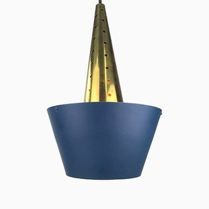 Danish Brass Ceiling Lamp, 1960s
