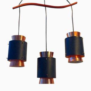 Lámpara colgante triple danesa Mid-Century de cobre con suspensión de teca de Lyfa