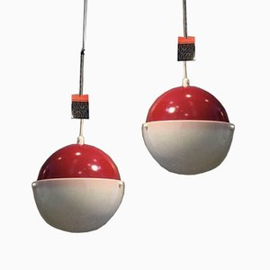 Mid-Century Red and White Sphere Ceiling Lights by Sidse Werner and Leif Alring for Fog & Mørup, Set of 2