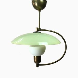 Mid-Century Modern Brass and Opaline Glass Ceiling Light
