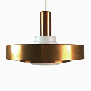 Danish Copper & Opaline Glass Ceiling Light, 1960s