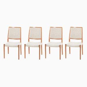 Vintage Stühle mit Wollbezug & Gestell aus Teak von Niels Otto Møller für J.L. Møllers, 4er Set