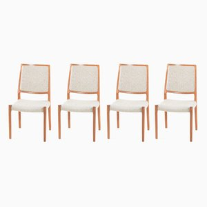 Vintage Wool and Teak Chairs by Niels Otto Møller for J.L. Møllers, Set of 4