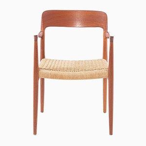 Butaca modeloo 56 vintage de teca e hilo sislar de Niels Otto Moller para J.L. Møllers