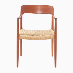 Vintage Paper Cord and Teakwood Model 56 Armchair by Niels Otto Moller for J.L. Møllers