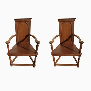 Renaissance Style Church Chairs, 1940s, Set of 2