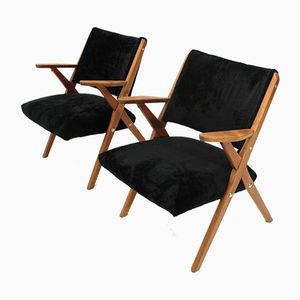 Mid-Century Italian Black Velvet Easy Chairs from Dal Vera, 1950s, Set of 2