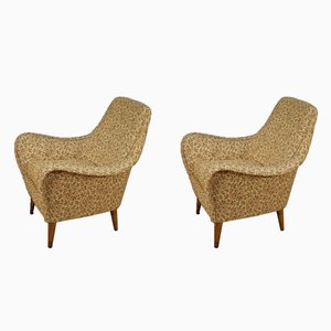 Italian Armchairs with Floral Fabric, 1960s, Set of 2