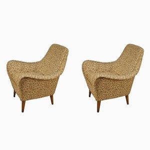 Italienische Sessel mit Stoffbezug mit Blumen-Motiven, 1960er, 2er Set