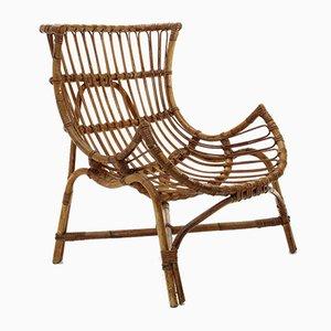 Italienischer Mid-Century Sessel aus Rattan, 1950er